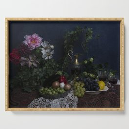Classic  still life with flowers, fruit, vegetables and wine Serving Tray