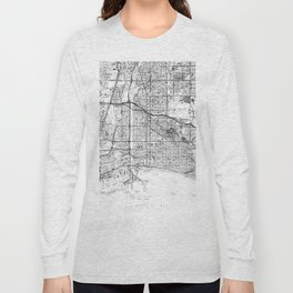 Vintage Map of Long Beach California (1964) BW Long Sleeve T-shirt