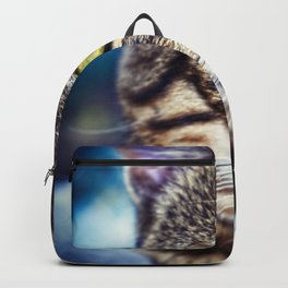 Bengal Tom Tabby Cat Portrait Backpack