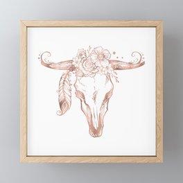 Rose Gold Bull Skull with Pink Feather Flowers Framed Mini Art Print