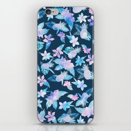 Tropical navy blue pink teal watercolor fruit floral iPhone Skin