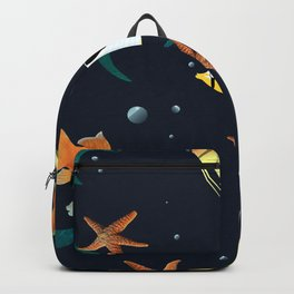 Sea life pattern ,sea shells ,sea star,fish Backpack