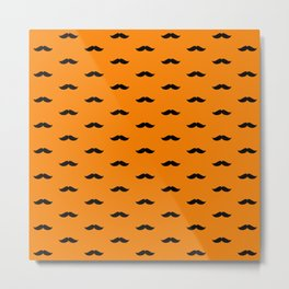 Black Mustache pattern on orange background Metal Print