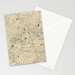 Vintage Map of London England (1901) Stationery Cards