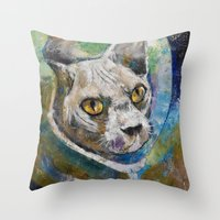 space cat Throw Pillows featuring Space Cat by Michael Creese