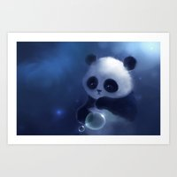 panda Art Prints featuring Panda by apofiss