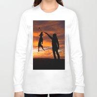 workout Long Sleeve T-shirts featuring Sunset Workout by Sandy Broenimann