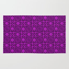 Dazzling Violet Geometric Floral Abstract Rug