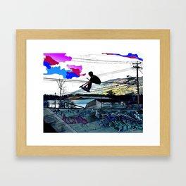 Let's Scoot! - Stunt Scooter at Skate Park Framed Art Print