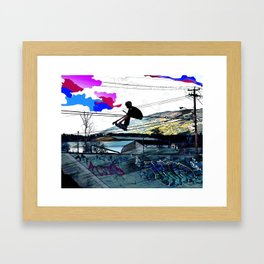 Let's Scoot! - Stunt Scooter at Skate Park Framed Art Print