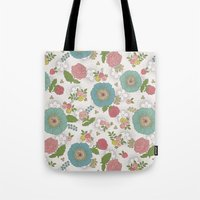 manchester Tote Bags featuring Manchester floral by Silvia Dekker