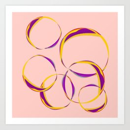 Floating bubbles combined in purple salmon no. 1 Art Print