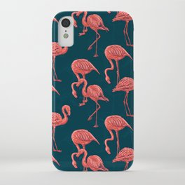 Living coral flamingo pattern iPhone Case