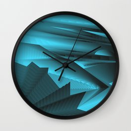 Strange gentle landscap with stylised mountains, sea and light blue Sun. Wall Clock