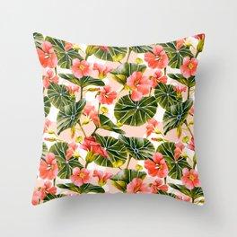 Flowering garden nasturtiums Throw Pillow