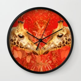 Face to face - beautiful giraffes - love is in the air Wall Clock