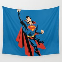 dc Wall Tapestries featuring DC - Superman by TracingHorses