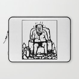 Comic of a fat lazy man drinking and smelling Laptop Sleeve