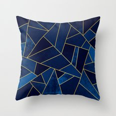 Blue stone with yellow lines Throw Pillow
