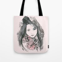 viria Tote Bags featuring pale flowers by viria