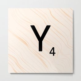 Scrabble Letter Y - Scrabble Art and Apparel Metal Print