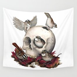 White-throated Sparrows Forage Amongst Human Remains Wall Tapestry