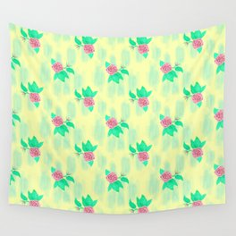 Roses on Yellow Wall Tapestry