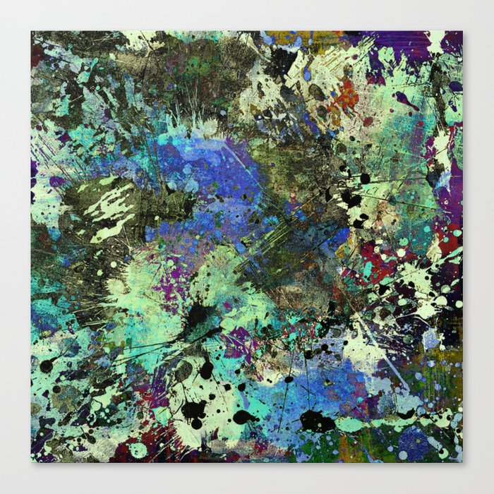Deep In Thought - Black, blue, purple, white, abstract, acrylic paint splatter artwork Canvas Print