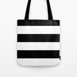 Even Horizontal Stripes, Black and White, XL Tote Bag