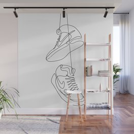 Sneakers simple minimal one line art, hanging shoes branded shoes  Wall Mural