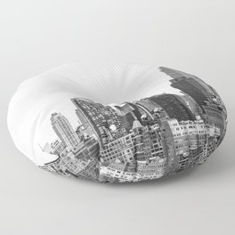 The New York Cityscape City (Black and White) Floor Pillow