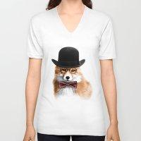 gentleman V-neck T-shirts featuring Gentleman by JM Illustration