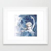 frozen elsa Framed Art Prints featuring Elsa Frozen by r3nd0s