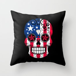Sugar Skull with Roses and Flag of The United States Throw Pillow