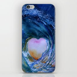 Watercolor Wave Heart iPhone Skin