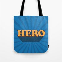hero Tote Bags featuring Hero by Word Quirk