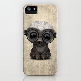 Cute Nerdy Honey Badger Wearing Glasses iPhone Case