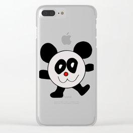 Childishly drawn cute panda bear animal cartoon Clear iPhone Case
