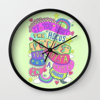 hocus pocus Wall Clocks featuring If You Want The Hocus Pocus You Gotta Put A Payment In Focus by Saif Chowdhury