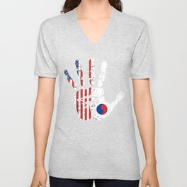 USA South Korea Handprint & Flag | Proud Korean American Heritage, Biracial American Roots, Culture Unisex V-Neck