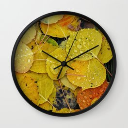 Water droplets on autumn aspen leaves Wall Clock