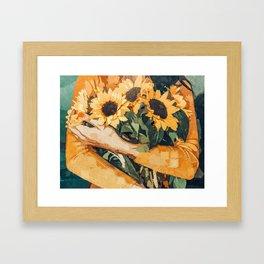 Holding Sunflowers #society6 #illustration #nature #painting Framed Art Print