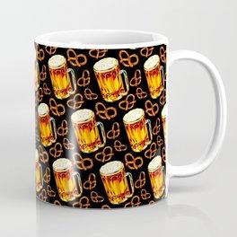 Beer & Pretzel Pattern - Black Coffee Mug