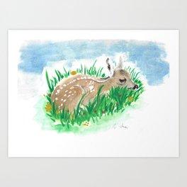Shy Bambi Deer Art Print