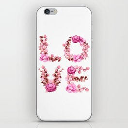 L-O-V-E in Pink Flowers iPhone Skin