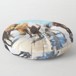 Watercolor Horse 40, Assateague Pony, Assateague, Maryland, Herd Hunters Floor Pillow