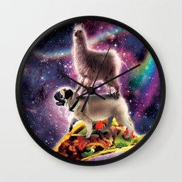 Rainbow Space Llama On Pug Riding Taco Wall Clock
