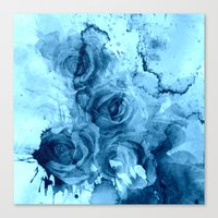 roses Canvas Prints featuring roses underwater by clemm
