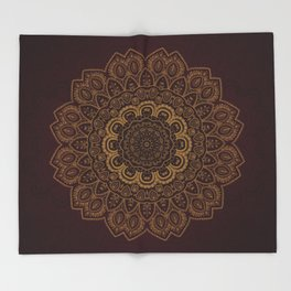 Gold Mandala on Royal Red Background Throw Blanket