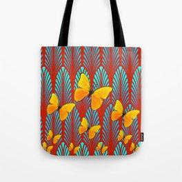 YELLOW ART DECO BUTTERFLIES & CUMIN COLOR ART Tote Bag